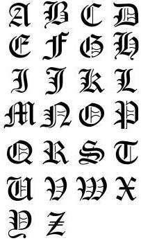 tatouage alphabet gothique