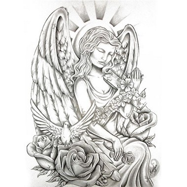 Tatouage ange croix mod les et exemples - Dessin d ange gardien ...