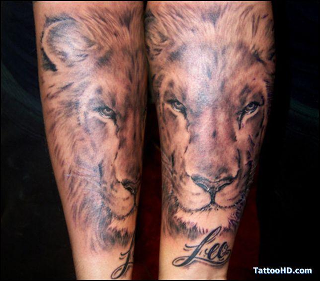 tatouage avant bras lion