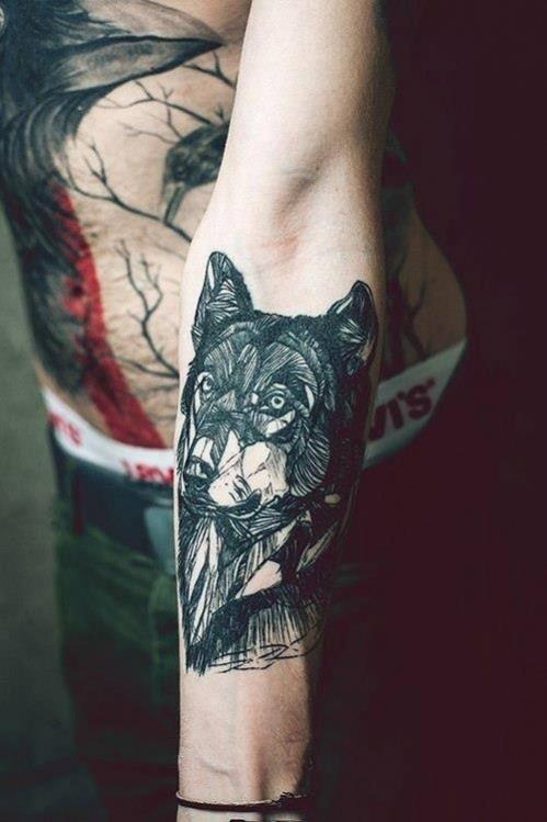 Tatouage avant bras loup - Modu00e8les et Exemples