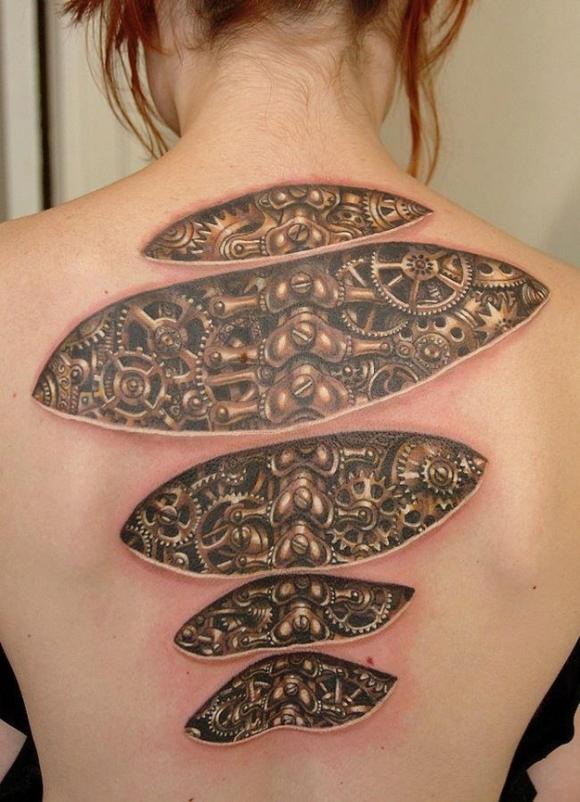 Tatouage biomecanique colonne vertebrale mod les et exemples - Tatouage femme colonne vertebrale ...