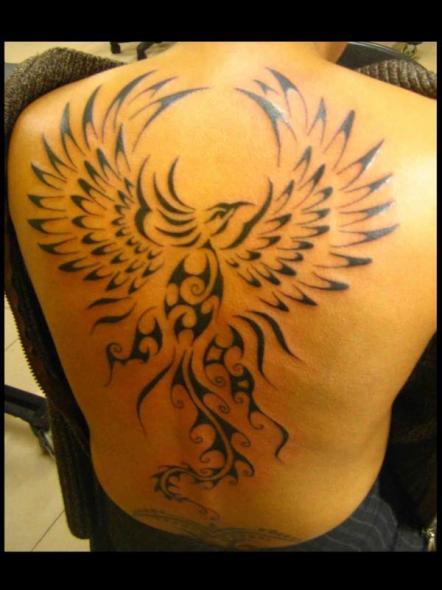 Tatouage dos homme phoenix mod les et exemples - Tatouage phoenix dos ...