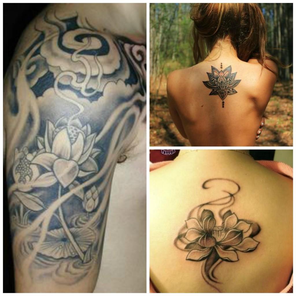 tatouage fleur lotus tribal
