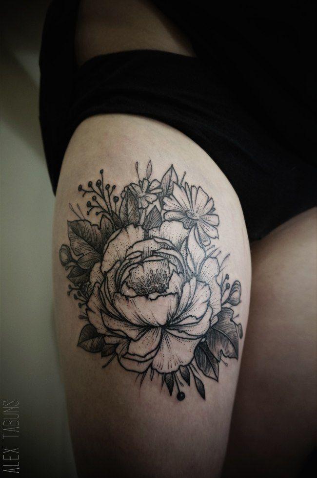 Tatouage fleur noir et blanc mod les et exemples - Tatouage fleur noir ...