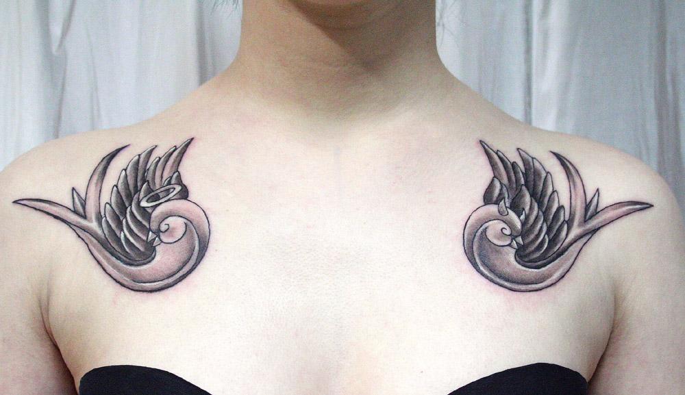 Tatouage hirondelle poitrine mod les et exemples - Tatouage hirondelle signification ...