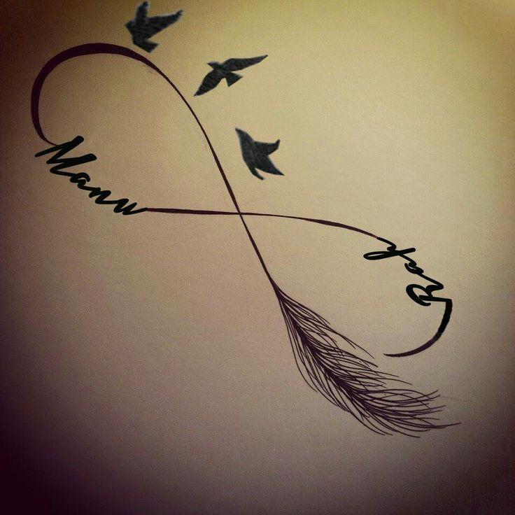 Tatouage infini plume oiseau mod les et exemples - Tatouage signe infini avec prenom ...