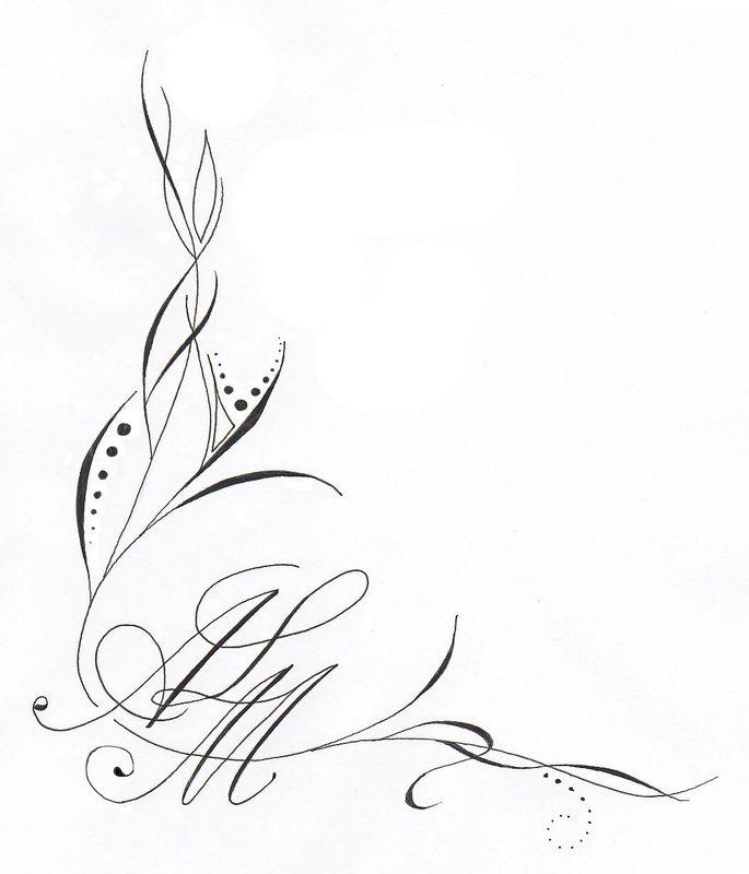 Tatouage initiale rm mod les et exemples - Model de fleur a dessiner ...