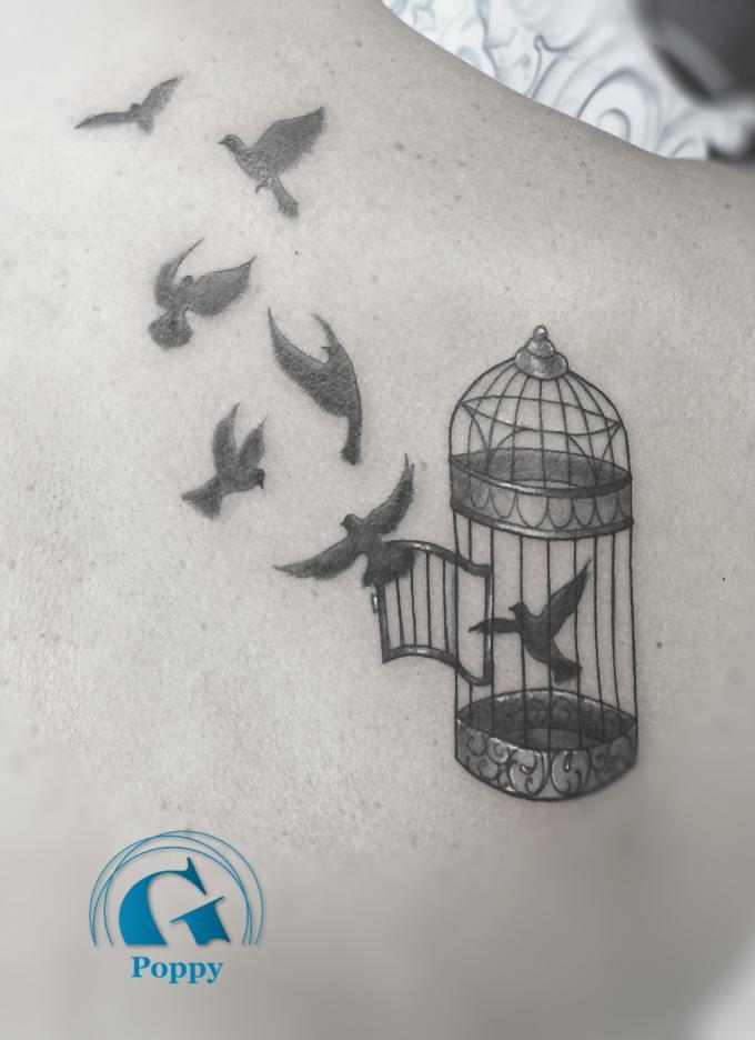 Tatouage oiseau en cage mod les et exemples - Dessin oiseau en cage ...
