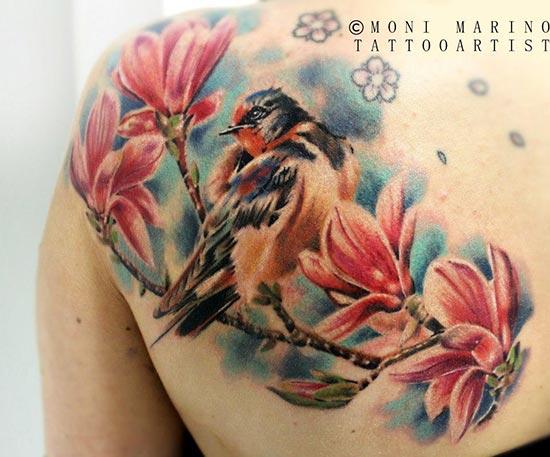 Tatouage oiseaux sur une branche mod les et exemples - Prenom ilyana ...