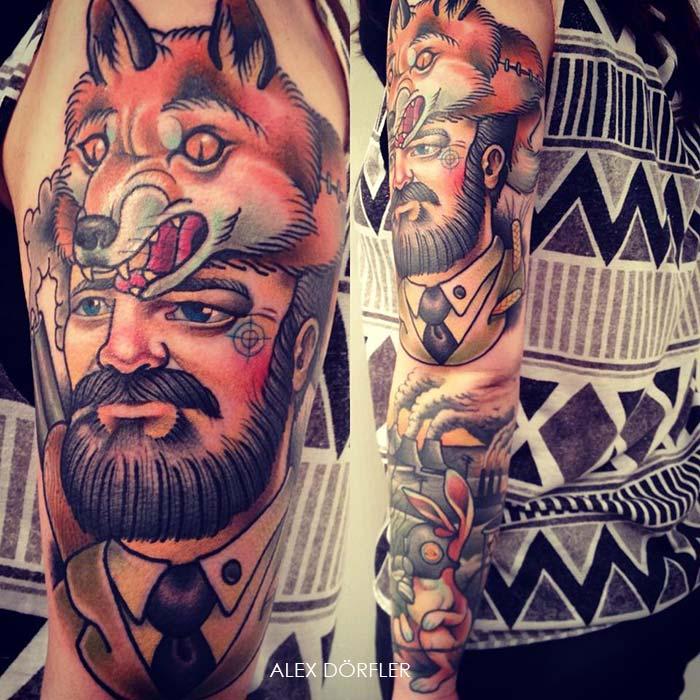 tatouage pectoraux old school