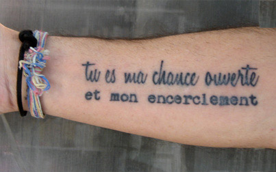 Tatouage phrase d'amour en italien