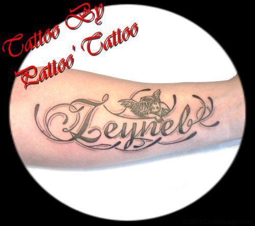 Tatouage prenom avec un ange mod les et exemples - Tatouage avant bras prenom ...